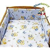 """BlueberryShop 3 pcs BABY COT BED BUNDLE BEDDING SET DUVET+PILLOW COVERS + BUMPER cot bed (35.5"""" x 47"""") ( 0-3Yrs ) ( 120 x 90 cm ) Blue Bear"""