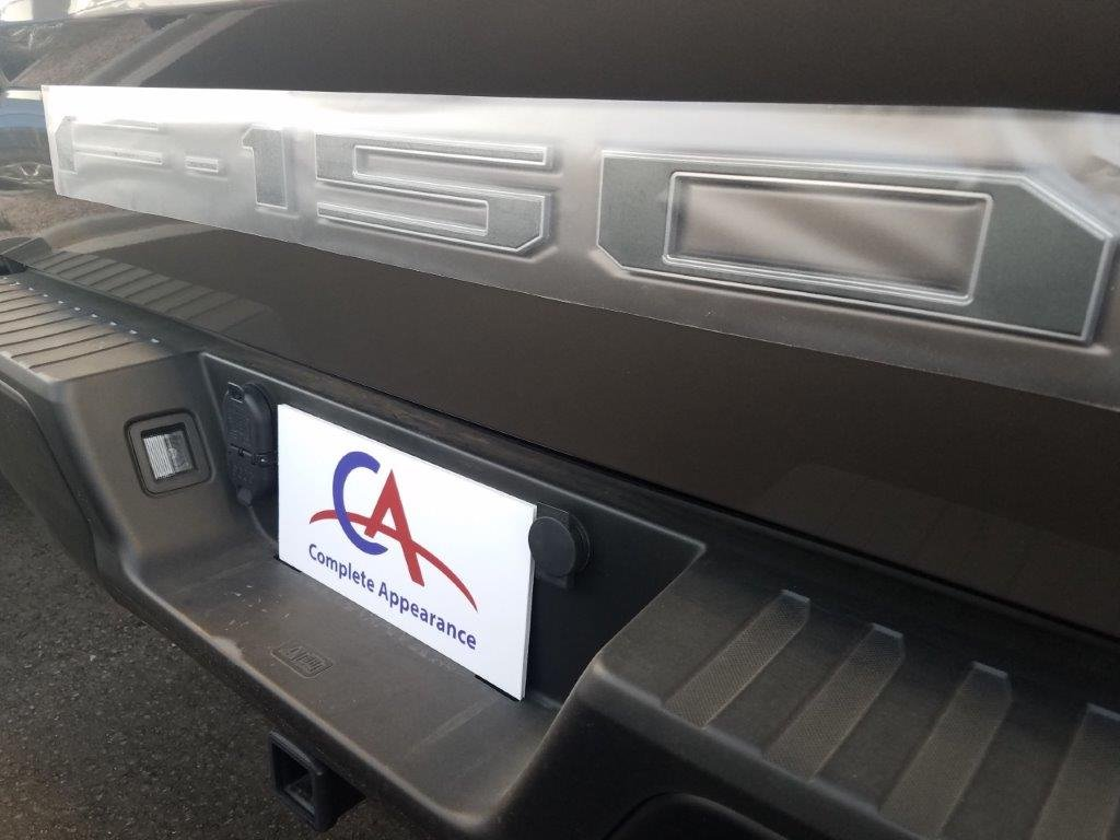 Complete Appearance Tailgate Insert Letters for 2018-2019 Ford F150 Gloss Graphite with Bright Chrome Border