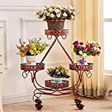 LIZX Tie - Style Wheel Flower Stand Floor - Style Flower Bed Frame Living Room Balcony Shelf ( Color : Red copper )
