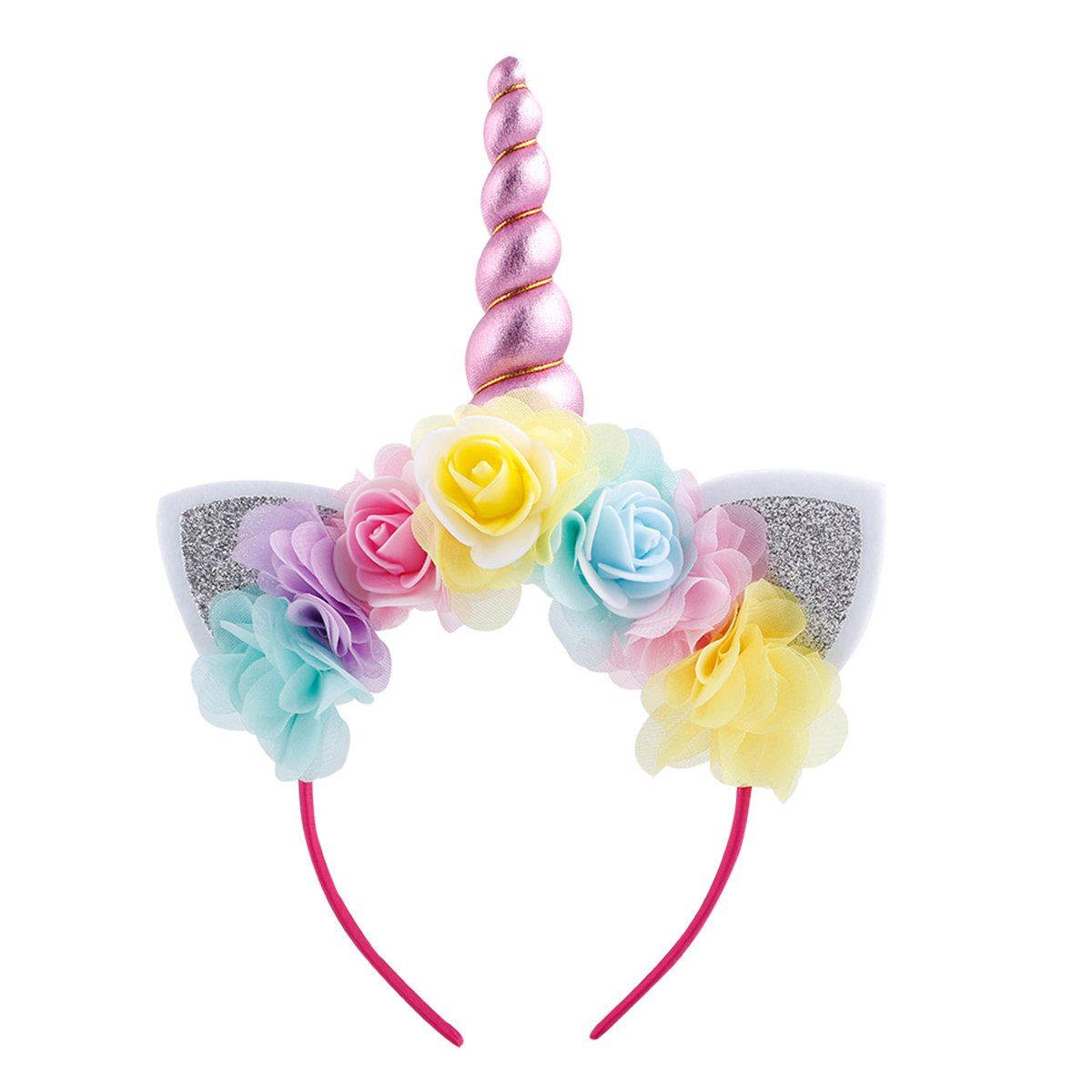 Girls Unicorn Dress up Costume Rainbow Tulle Tutu Skirt with Horn Headband Kids Birthday Outfit for Halloween Cosplay