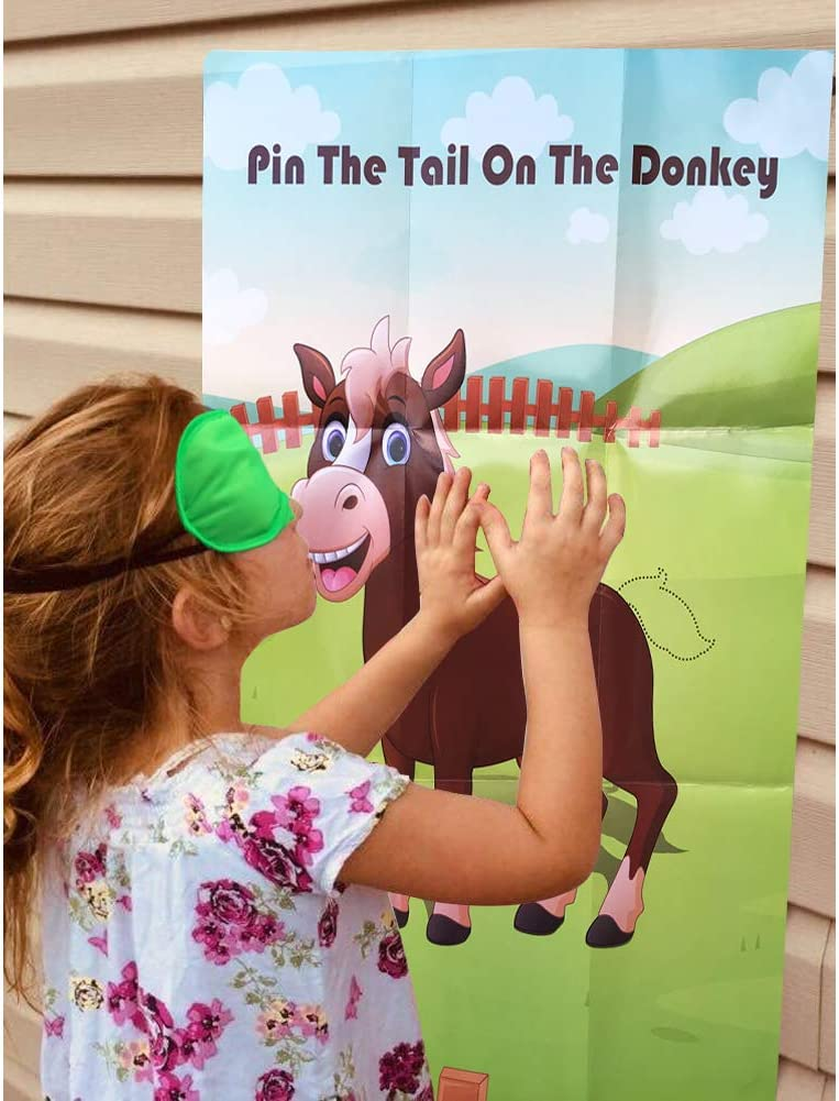 Hokic Pin The Tail On The Donkey Party Game for Kids Birthday Decorations Carnival Party Supplies Game Collection Donkey