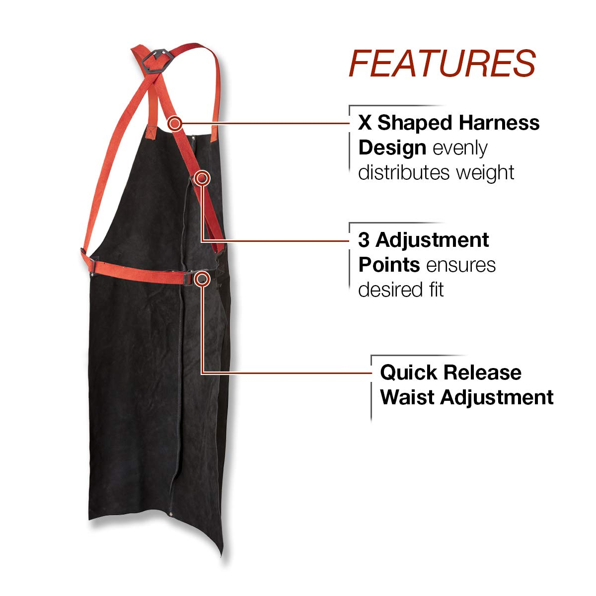 42 Length Adjustable Fit Black |K3110-ALL Lincoln Electric Leather Welding Apron