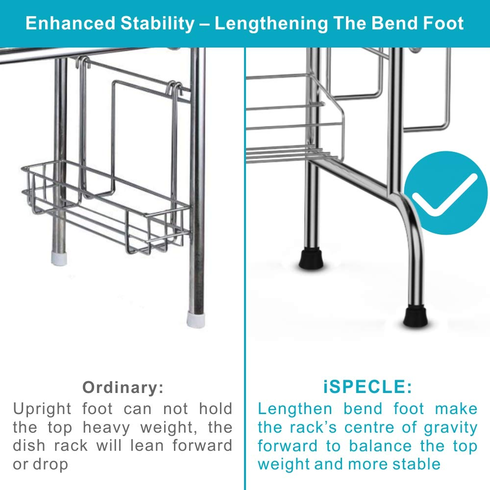Over the Sink Dish Drying Rack, iSPECLE Large Premium 201 Stainless Steel Dish Rack with Utensil Holder Hooks for Kitchen Counter Non-slip by iSPECLE (Image #6)