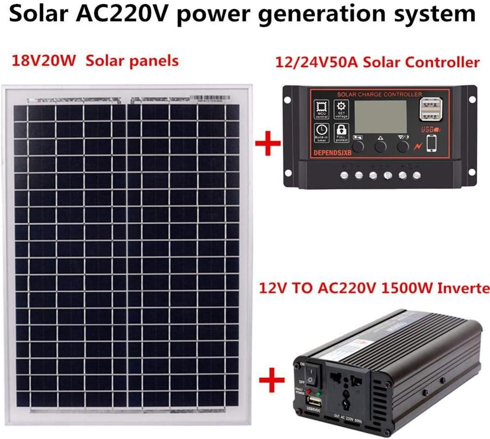 Chifans Kit de Carga de batería con Panel Solar de 12V 24V con Controlador de Cargador Panel de energía para caravanas, autocaravanas, Barcos y Cualquier Superficie Plana