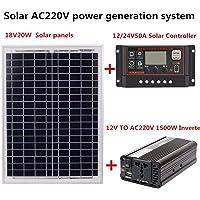 Adminitto88 Sistema de generación de energía Solar - AC220V 1500W 18V20W Panel Solar + Controlador Solar + Equipo…