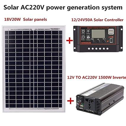 Chifans Kit de Carga de batería con Panel Solar de 12V 24V ...