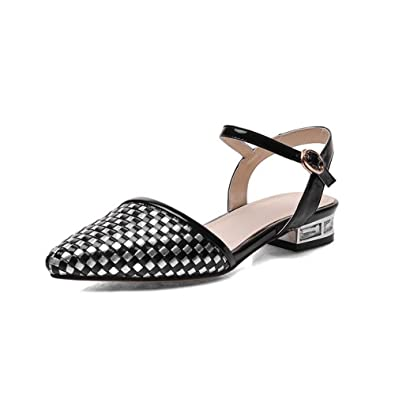 c12563f9c4c2 AmoonyFashion Women s Soft Material Buckle Pointed-Toe Low-Heels Checkered  Sandals