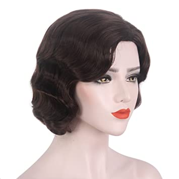 """6613cc349 STfantasy Finger Wave Wig Brown Bob Short Curly for Women Cosplay Party  Costume Hair 14"""""""