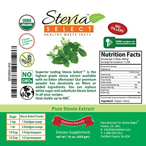 Stevia powder (1LB) Stevia Select Pure Stevia Extract-Bulk Stevia Organic, Kosher, Non-GMO Certified- Best tasting Available Guaranteed! by Stevia Select (Image #2)