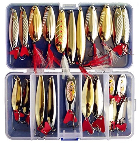 Fishing Lures Metal Spoons Hard Baits 22pcs Set Metal Fishing Lures Spinner Baits Fish Treble Hooks Tackle Salmon (Spinner Spoon)