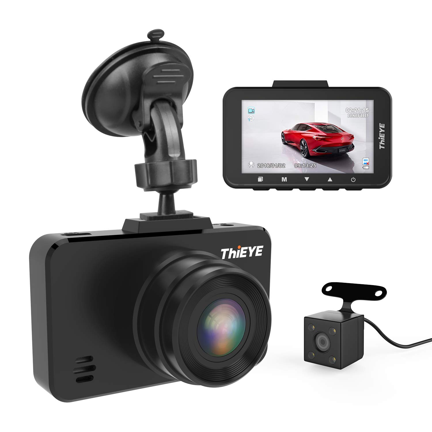 ThiEYE Dash Cam 1080P Full HD Car DVR Dashboard Camera Recorder with Super Wide Angle, WDR, Loop Recording, Parking Monitor, G-Sensor and Clear Night Vision (Front and Rear Dashcam) by ThiEYE
