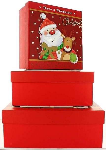 Juego de 3 cajas de regalo Navidad cuadrado anidado – Papá Noel y reno de Papá