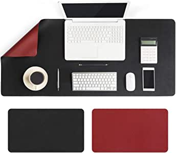 Large Desk Pad 90x40cm, Double-Sided Desk Mat, PU Leather Gaming Mouse Pad for PC Laptop, Waterproof Mouse Keyboard Mat, Non-Slip Desk Protector, Desk Writing Pad for Home Office Work, Black & Red