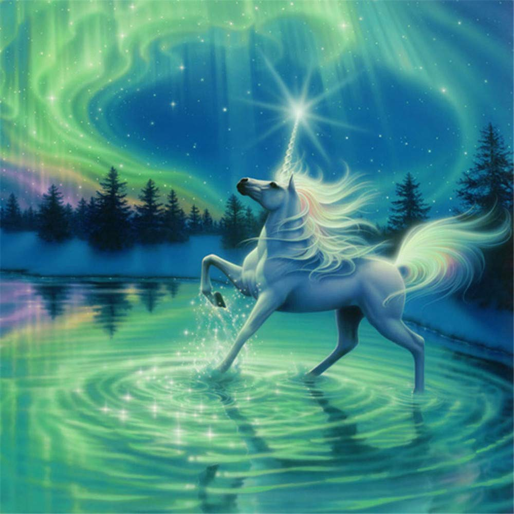 Paint by Number Kits - Unicorn 16x20 Inch Linen Canvas Paintworks - Digital Oil Painting Canvas Kits for Adults Children Kids Decorations Gifts (with Frame)