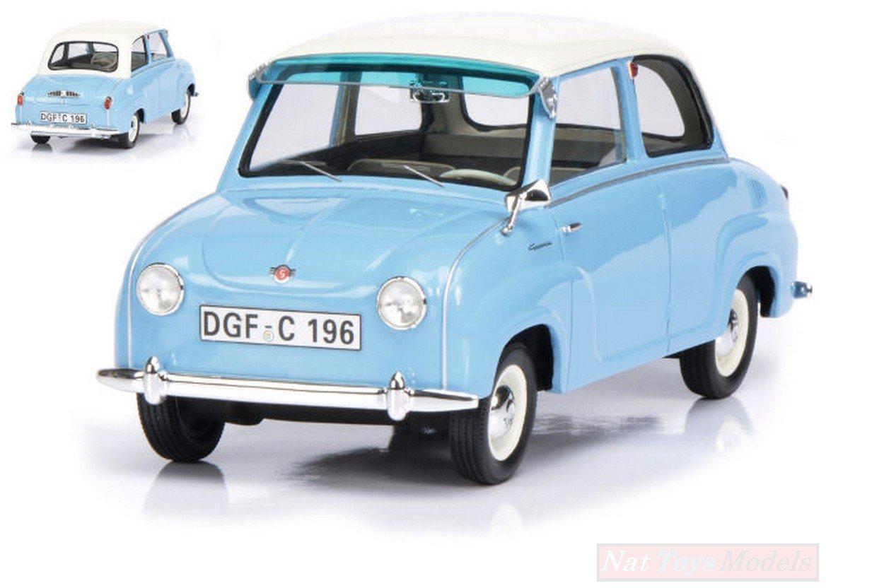 Schuco Sh0096 Goggomobil Modellino 1955 Light Blau Wweiß Roof 118