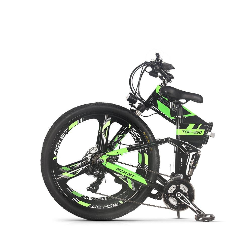 RICH BIT 860 電動アシスト自転車 26インチ 250W*12.8AH 折り畳むアルミフレーム マウンテンバイク 公道乗れと防犯登録可能 B07FGDXK16グリーン7.8AHバッテリー