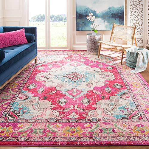 Safavieh Monaco Collection MNC243D Vintage Oriental Bohemian Pink and Multi Distressed Area Rug (8' x 10') ()