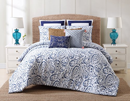 Oceanfront Resort Cotton Comforter Set, King, Indienne Paisley (Cotton Tropical Comforter)