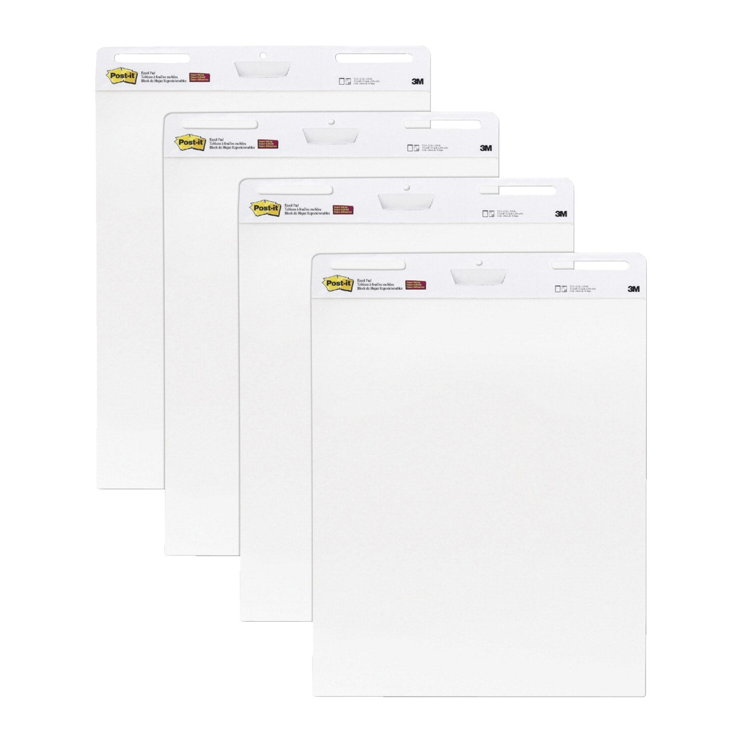 Post-It Self-Stick Easel Pad, 25 x 30 Inches, Unruled, White, 30 Sheets, Pack of 4 by Post-it