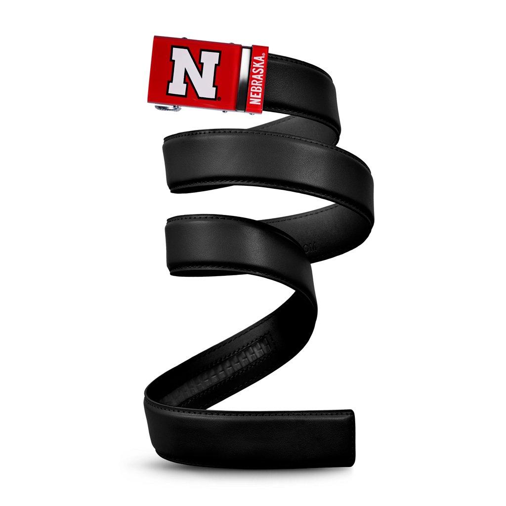 NCAA Nebraska Cornhuskers Mission Belt, Black Leather, Large (up to 38)