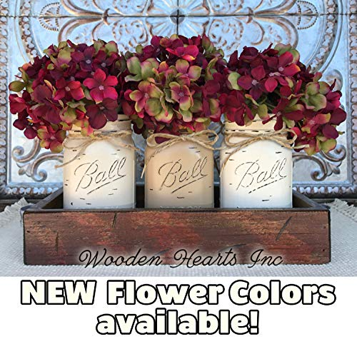Mason Canning JARS in Wood Antique RED Tray Centerpiece with 3 Ball Pint Jar - Kitchen Table Decor - Distressed Rustic - Hydrangea Flowers (Optional) - SAND, COFFEE, CREAM Painted ()
