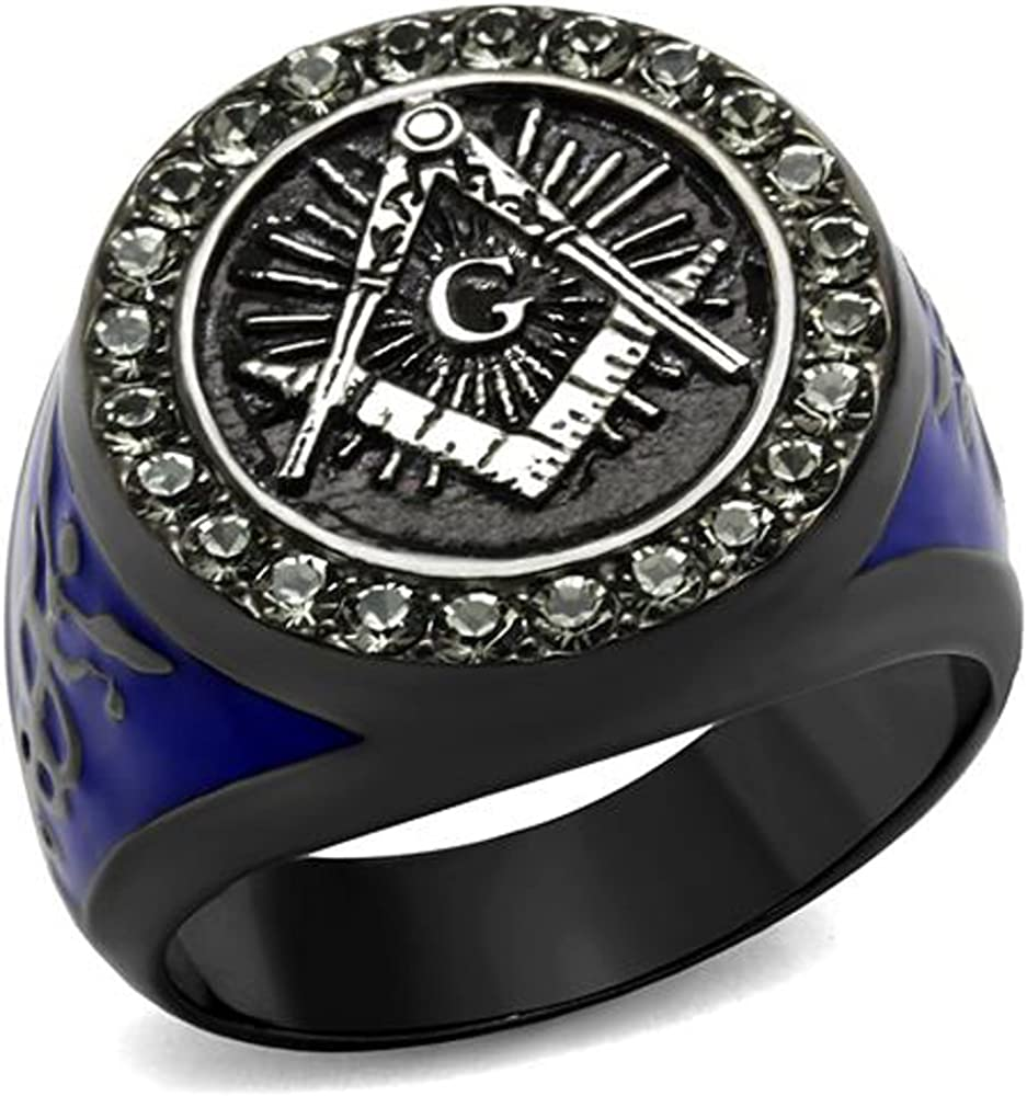 Stainless Steel Black & Blue Ion Plated Crystal Masonic Freemason Ring Sz 8-13