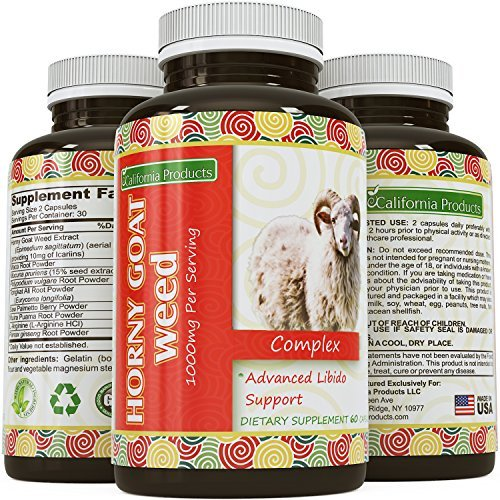 Pure Horny Goat Weed Supplement with fast acting Maca Root Powder with Natural Testosterone booster and Increase energy, stamina, performance by California Products