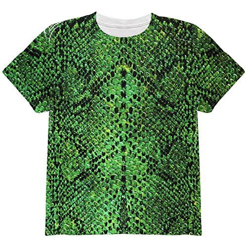 Animal World Halloween Green Snake Snakeskin Costume All Over Youth T Shirt Multi -