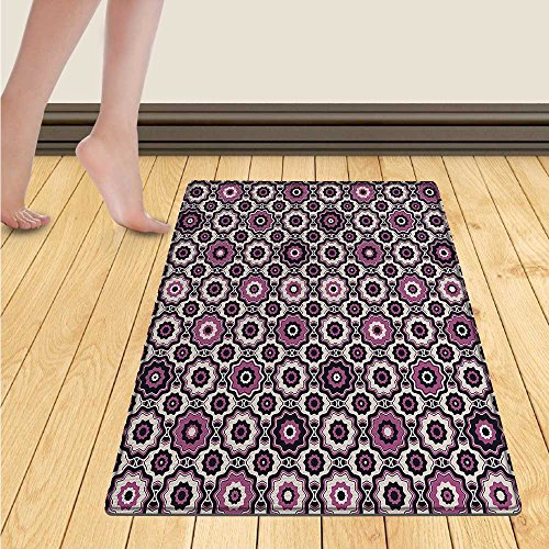 (smllmoonDecor Floral Bath Mat for tub Cute Artistic Blossoms Petals Modern Dots Abstract Bedding Plants Gardening Door Mats for inside Bathroom Mat Non Slip Backing 24