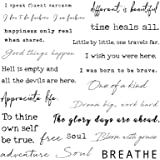 Everjoy Realistic Temporary Tattoos - 20 Individual Line Pcs, Waterproof Inspirational Words for Adult, Women (Words)