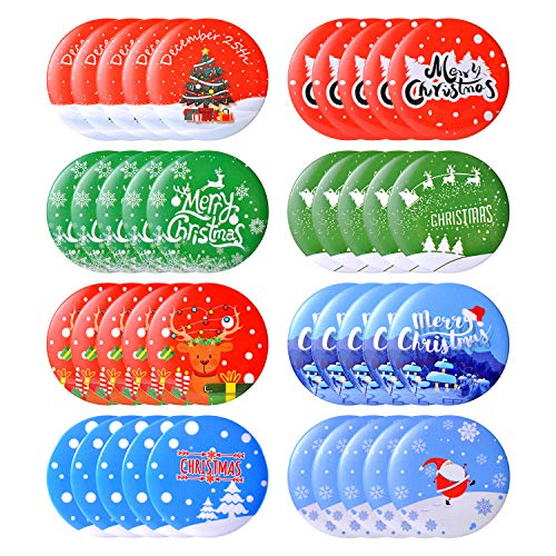 32 Pcs Merry Christmas Button Pins Christmas Mini Buttons Badges Clothes Button Pins Round Button Pins for Christmas Party,Holiday party Supplies