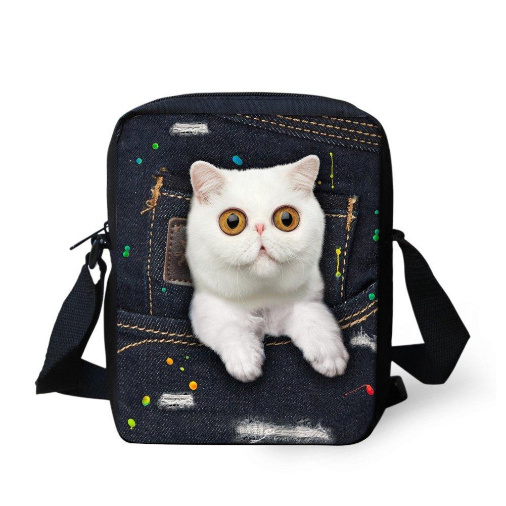 LedBack 3D Wolf Print Messenger Bag for Boys Girls Children Small Travel Purse