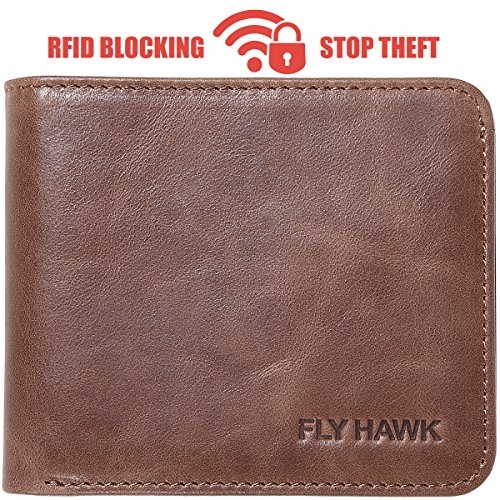 RFID Blocking Leather Wallets for Mens Bifold Slim Credit card wallets