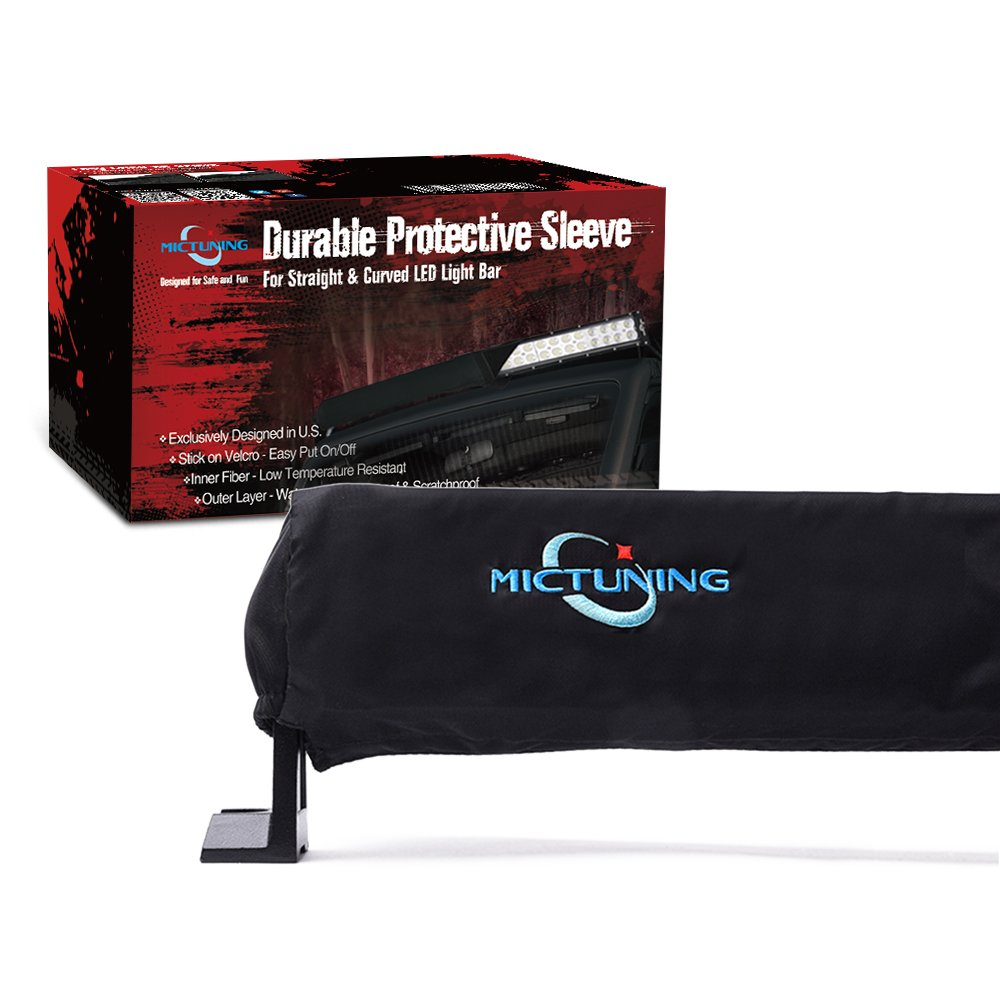 MICTUNING 22 Universal Straight & Curved LED Light Bar Cover - Water-resistant, Windproof, Dustproof, Snowproof & Scratch-proof Protective Sleeve