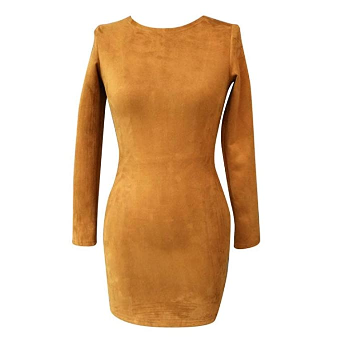 fc5467af8308 Amazon.com  Long Sleeve Slim Party Dress Sexy Club Brown Vestido Women  Winter Dresses Kylie Skin Tight Faux Suede Bodycon Dress  Clothing