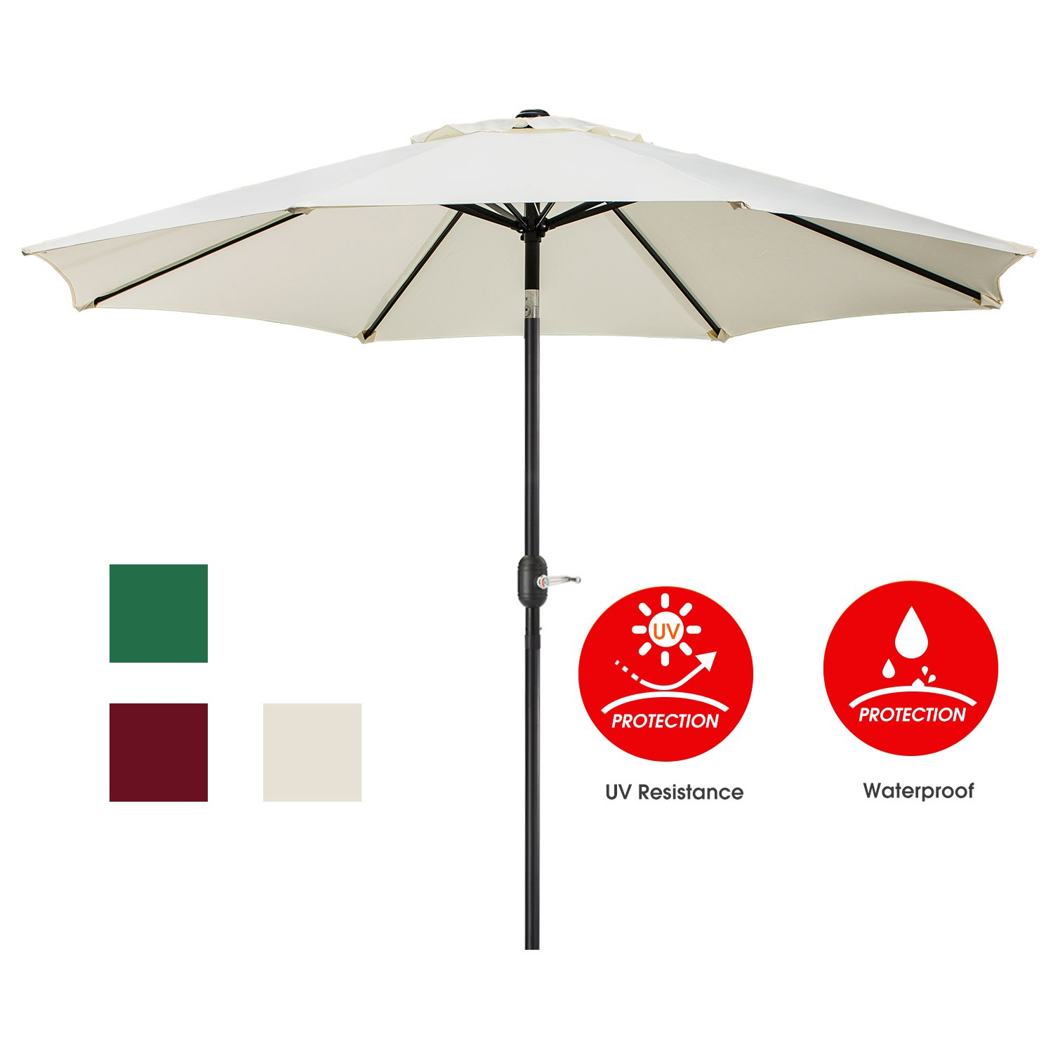 UMARDOO Patio Umbrella, Uhinoos 9 Ft Durable Alloy and Ribs outdoor table umbrella with Push Button Tilt and Crank, fade resistant,Water proof patio table umbrella (ivory)