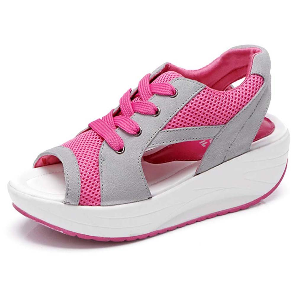 Amazon.com | Orlancy Womens Mesh Breathable Sandals Shape Ups Lace-up Running Open Toe Sneakers | Platforms & Wedges