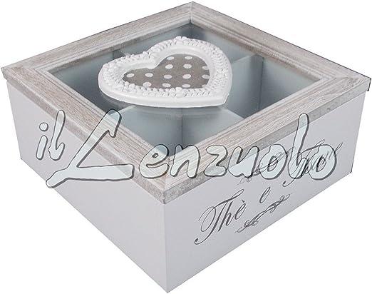 Caja para té y infusiones de madera 4 compartimentos Shabby Chic ...