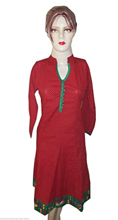 ca8dbc5403f9a9 Amazon.com  Indian Kurta Designer Girls Kurti Women Top Tunic Ladies Casual  Cotton Dress New  Clothing
