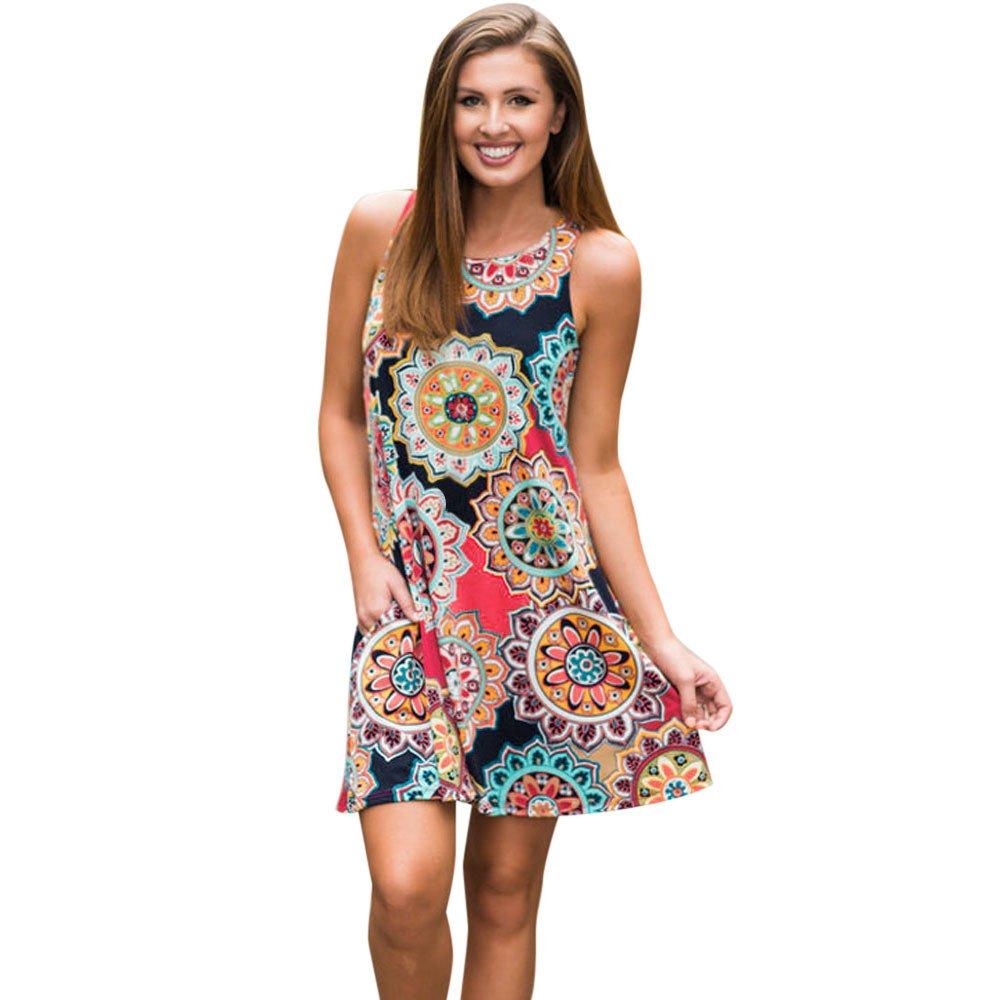 KYLEON Women Dresses Summer Boho Print Pocket Sleveless Dress Swing Beach Vintage Short Mini Dress Tank Casual Sundress