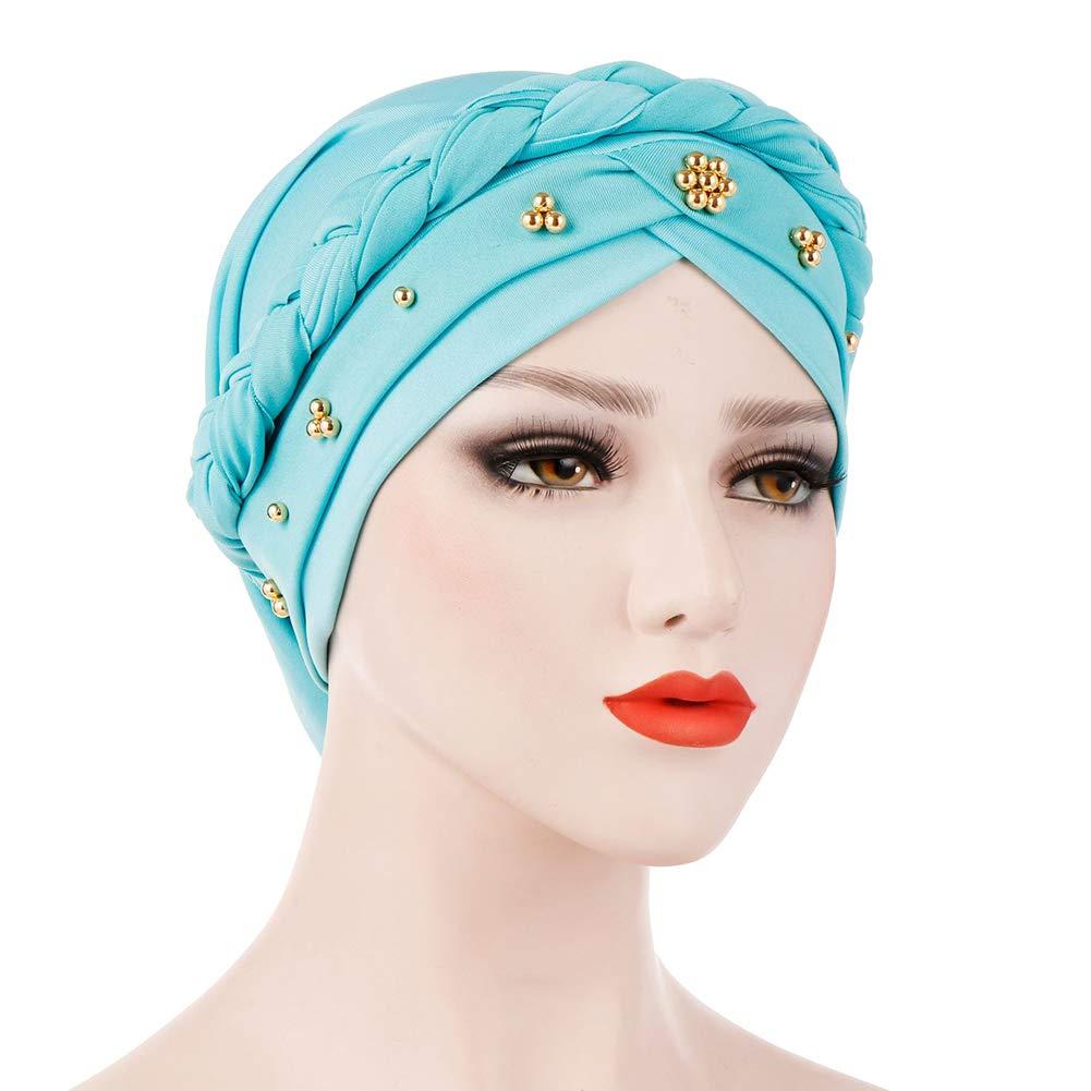 BrawljRORty Muslim Scarf Wraps - Solid Color Braid Beads Decor Women Muslim Hijab Turban Head Scarf Cap Hat by BrawljRORty (Image #8)