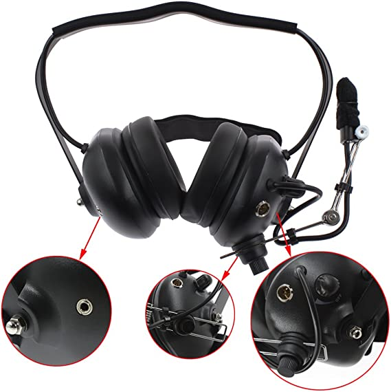 Tenq Military Professional Noise Cancelling Overhead Headset Earpiece Boom Microphone with PTT for 2-pin Kenwood Nexedge Hytera Puxing Wouxun Radio