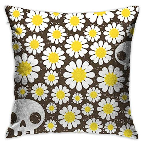 Throw Pillow Cover Vintage Happy Halloween Colorful Skulls Daisy Decorative Pillow Case Decor Square 18x18 Inch Cushion Pillowcase ()