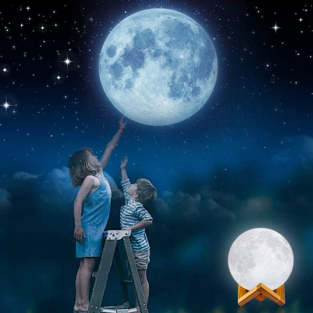 GDPETS 3D Printing 7.3 Inch 16 Colors Moon Night Light with Stand /& Remote /&Touch Control and USB Rechargeable Decorative Luna Lamp for Baby Kids Birthday Party Christmas Gifts Moon Lamp