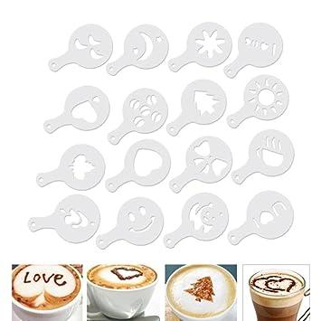 AOLVO Coffee Barista Stencils - Plantillas de café (16 Unidades, plástico), diseño de café: Amazon.es: Hogar