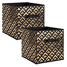 """DII Foldable Double Diamond Fabric Storage Containers for Cube Organizers, Toys, Cloths or Knick Knacks (Set of 2), 11 x 11 x 11"""", Gold/Black"""