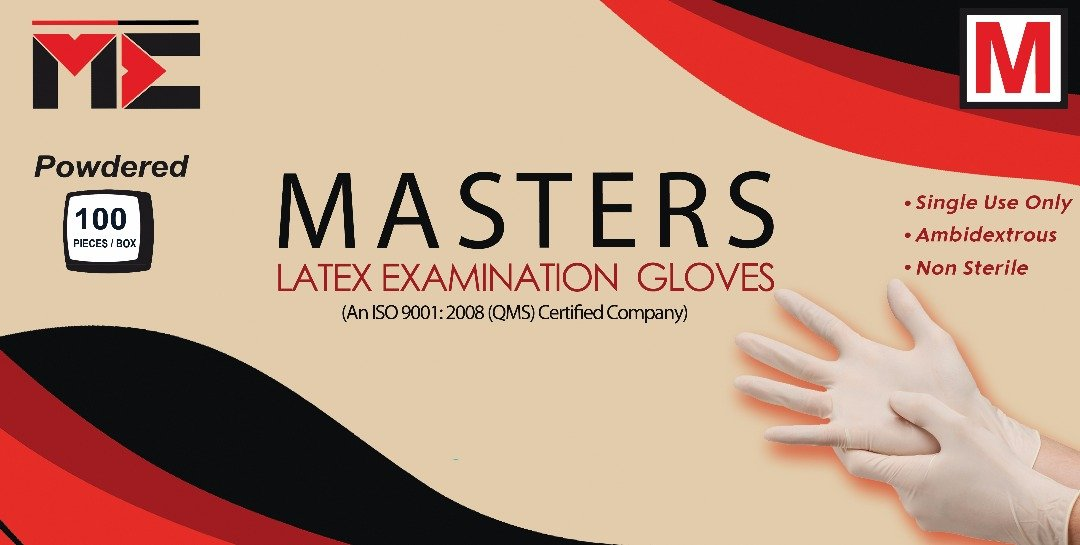 Masters' Latex Examination Gloves - Large - Pack Of 100Pcs- Non-Sterile,  Powdered