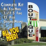 BOUTIQUE Windless Feather Banner Flag Kit (Flag, Pole, & Ground Mt)