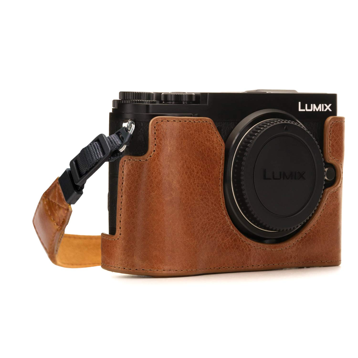 MegaGear MG1443 Panasonic Lumix DC-GX9 Ever Ready Genuine Leather Camera Half Case and Strap, Light Brown