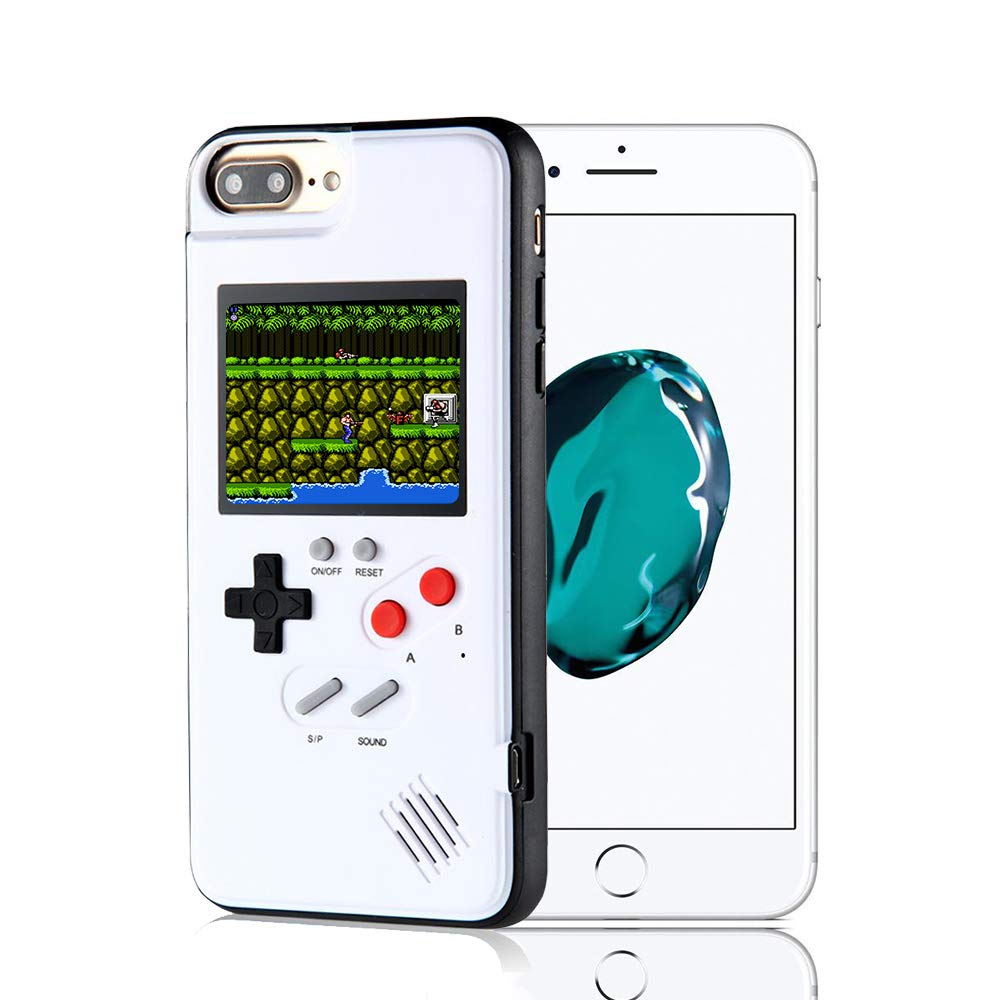 Game Console iPhone Case, Handheld Game Console Case Cover with 36 Games Phone Case (iPhone 6/7/8, White)